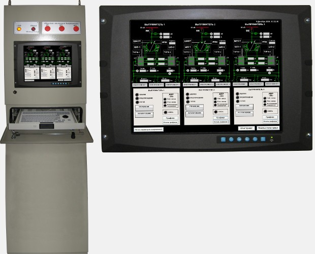 Monitoring system with mimic panel for electrolytic rectifiers